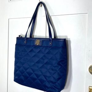 Tommy Hilfiger navy blue quilted nylon tote bag